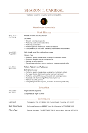 Brilliant Ideas of Sample Resume For Picker Packer With Proposal