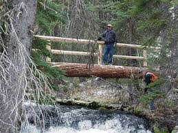 bend ft rock forest service trail crews build a log bridge across spring creek on an image you like to see the full version broadband folks can