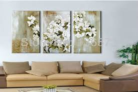 get quotations hand painted white decorative flowers 3 piece canvas wall art sets modern picture oil landscape painting on framed wall art sets of 3 with cheap 3 piece framed wall art find 3 piece framed wall art deals on