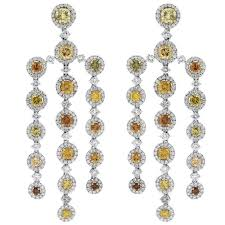 gia certified platinum fancy yellow diamond chandelier earrings for
