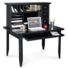 furniture gorgeous black computer desk with bookshelves three drawer and apple small black computer