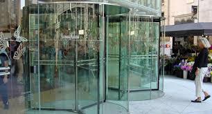 elegant all glass revolving door