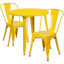 30 round yellow metal indoor outdoor table set with 2 cafe chairs