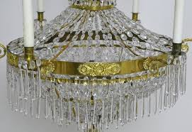 antique swedish gustavian empire crystal chandelier with ten lights ca 1810 in good