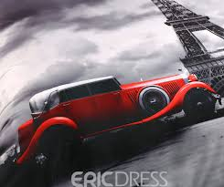 vivilinen 3d paris eiffel tower and vintage car printed cotton 4 piece bedding sets