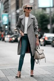 blonde woman wearing top plaid trench coat denim skinny jeans outfit chanel slingbacks celine belt bag
