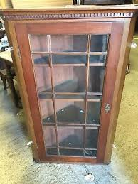 old plank back corner display cabinet