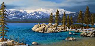 sand harbor in winter lake tahoe painting by frank wilson oil painting sand