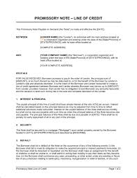 Promissory Note Word Template Promissory Note Line Of Credit Template Word Pdf By