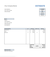 estimate template for contractors estimate template sample