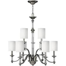 hinkley sus 9 light ceiling chandelier in brushed nickel finish and white fabric shades