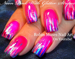 Easy Hot neon pink nails | Glitter STRIPED Nail Art Design ...