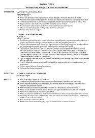 Asphalt Plant Operator Resume Samples Velvet Jobs