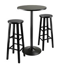 obsidian 3 piece round black pub table set 20331