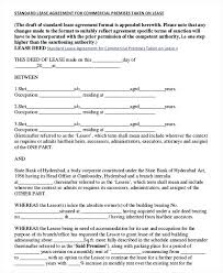Free Commercial Lease Agreements Forms Commercial Rent Agreement Format Commercial Lease Agreement Template