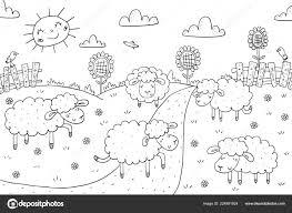 Kleurplaat Boek Zonnige Weide Ontwerpen Sheeps Voor Kinderen