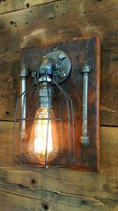 wood wall lamp wooden diy steampunk industrial barn sconce light