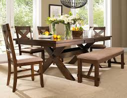 Roundhill Furniture Karven 6 Piece Solid Wood Dining Set With Table 4 Chairs And Bench