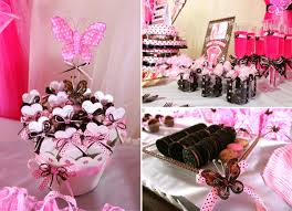 butterfly theme pink and brwon baby shower ideas for girls