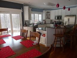 White Kitchen With Red Accents Blue Gray Kitchen With Red Accents Colorful Rooms Pinterest