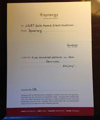 synergy gift certificate 500