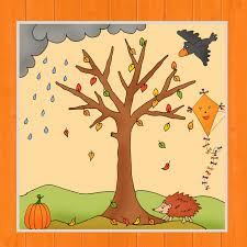 Jahreszeitenbaum Herbst Frau Locke