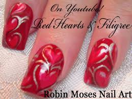 Valentine's Day Nail Art Tutorial | Red Heart Nails with Filigree ...
