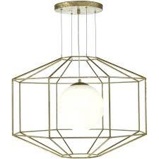 hexagonal open frame ceiling pendant light in old gold finish geometric small lighting