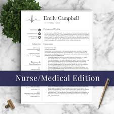 Nurse Resume Template The Emily Landed Design Solutions