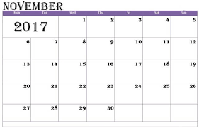 Editable November 2017 Calendar Template – Free Design and Templates