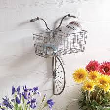 iron bicycle wall decor basket for storage magazine rack flower pot holder on iron bike wall decor with basket with iron bicycle wall decor basket for storage magazine rack flower