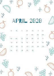 Free Printable April Calendar 2020 April 2020 Calendar Iphone Wallpaper Free August 2019