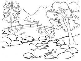 Christmas coloring pages for kids & adults to color in and celebrate all things christmas, from santa to snowmen to festive holiday scenes! Kids Coloring Page A River Landscape Drawing For Kids Coloring Pages Nature Nature Drawing