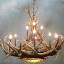 antler chandelier real deer lamp ideas white lamps kits do it yourself hampton bay faux ceiling light elk horn track lighting table touch fan