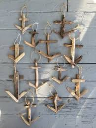 Rustic anchor ornaments constructed with driftwood. Each one is entirely  handmade. Sizes and color