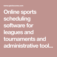 Online Sports Scheduling Software For Leagues And