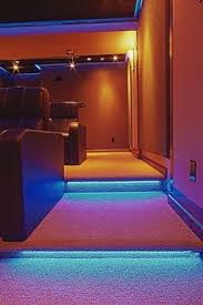 games room lighting. Kick Lights Underneath The Stairs For A Blue Ambiance At Night #LED. Media RoomsHouse DecorationsGame Games Room Lighting