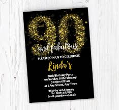 90 Birthday Party Invitations Sparkly 90th Birthday Party Invitations