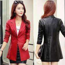 details about womens biker basic leather jacket suit collar coat motorcycle outwear parka slim