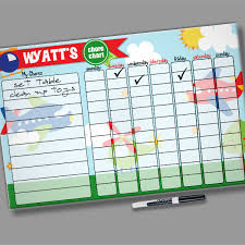 Planes Personalized Kids Dry Erase Reward Chore Chart