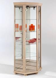 Sensational Design Corner Glass Cabinet Imposing Decoration Light Oak  Corner Display Cabinet