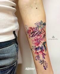 фото татуировки цветы в стиле акварель цветная татуировки на