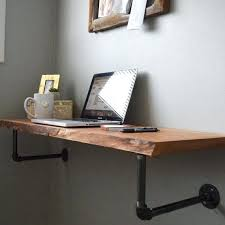 hanging computer desk perfect for stylish space savers this minimalist wall mounted live edge desk is