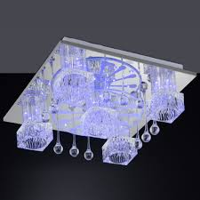 led ceiling light fixtures square with artistic crystals decoration accent