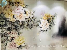 Beautiful Flower Designs For Glass Painting Hot Item Beautiful Peony Flower Background Wall Painting Glass Pg Tp003