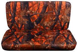 orange real tree camo bench seat covers