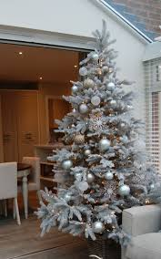 Christmas Bright White Lights Winter Wonderland Style Tree With Frosted Baubles And