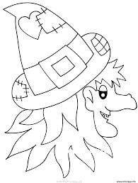 Coloriage Halloween Sorciere Visage Avec Son Chapeau Dessin