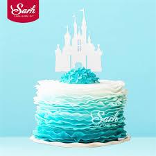 3pcs Bling Gold Sliver Romantic Princess Castle Cake Topper With