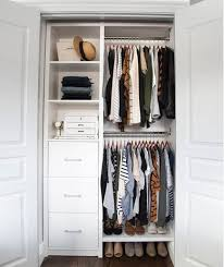 Reach in closet organizers do it yourself Bedroom Closet Im Totally Swooning Over The Entire Closet Makeover Via Organizing Home Life The Double Towers Of Drawers And All That Shelving And Hanging Space Wirecutter Small Reachin Closet Organization Ideas The Happy Housie